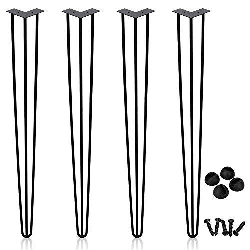 Hengda 4x Patas de mesa Patas de metal para muebles, Patas de horquilla, Camino de mesa, Patas de horquilla, Negro 61cm, 3 barras, para escritorio, mesa de comedor