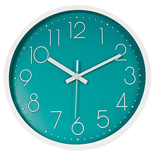 Topkey Reloj de pared de 30,48 cm, silencioso y moderno reloj de pared decorativo redondo para sala de estar, dormitorio, cocina (batería no incluida) (verde menta)