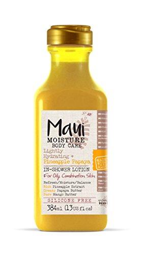 Maui Moisture Pineapple Papaya Creamy Inshower Body Lotion 13 Ounce Moisturizing Body InShower Body Lotion for Oily Skin Normal Skin Combination Skin with Aloe Vera Silicone Free