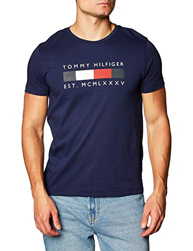 Tommy Hilfiger Logo Box Stripe tee Camiseta, Yale Navy, M para Hombre