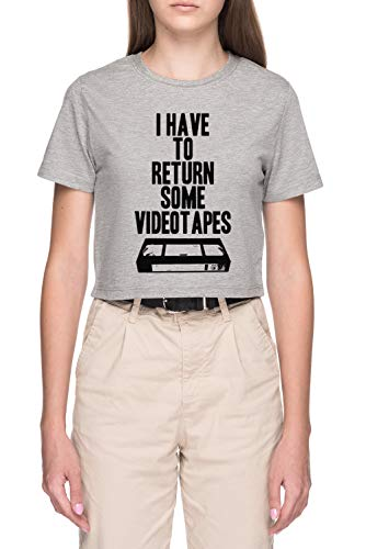 Luxogo Videocassette Donna Grigio Crop T-Shirt Maglietta Maniche Corte Women's Grey Crop T-Shirt