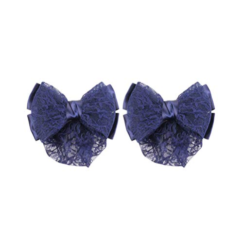 Lurrose Bowknot Cheveux Chignon Couverture Barrettes Net Snood Résille Filet Français Cheveux Clip,2pcs (Bleu Foncé)