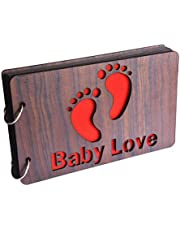 GiftsCafe Wooden Photo Album Scrapbook (26 cm x 16 cm x 4 cm, Brown) (Pack of 1) Baby Love (Brown)