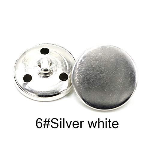 QWERTY Metalen Knoppen Golden Classic DIY Brons 10 Stks/partij Kleding Accessoires Knop Populaire Jas Voor Jeans Zilverachtig (Kleur: Zilverachtig wit 6, Maat : 20 MM)