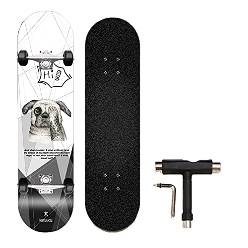 Ahorn Skateboard Erwachsene Sieben-Schicht-Ahorn-Highwheel-Vierräder-Tiefdruck-Doppel-Neigung Skateboard Erwachsene Anfänger Kinder Skateboard,Bad Dog,80cm/31.4in