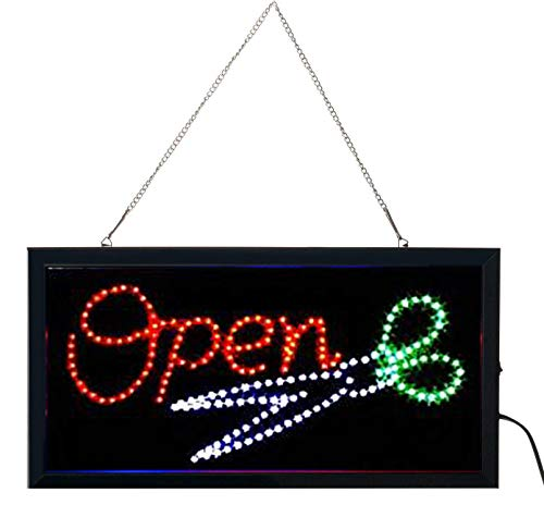 E-ONSALE Ultra Bright LED Neon Animated Hair Cut Salon Open Sign for Business w/Power & Animation On/Off (Open/Scissors)