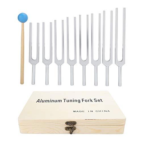 261.6‑523.2HZ Juego de diapasones, martillo de madera, herramienta de terapia de sanación con sonido para un cuidado saludable, herramienta de diapasón para la selección de orejas de yoga
