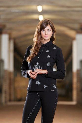 HKM Damen Polo-Langarmshirt -Silver Crown- by Glööckler Bluse, weiß, XXL