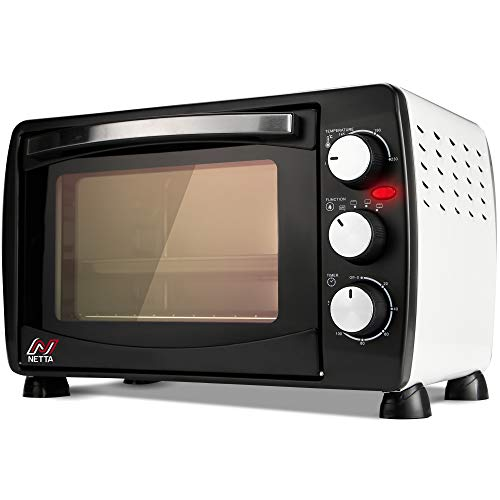 NETTA 26L Electric Mini Oven with Multiple Cooking Functions & Grill, Adjustable Temperature Control,Timer - 1500W with Lamp