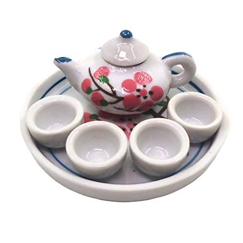 perfeclan 1/12 Miniatur Geschirr Porzellan Teeservice Set Teekanne + 4 Teecups + Untersetzer für Puppenhaus Küche Zubehör