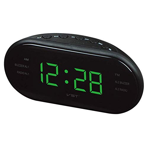 CMXSC Radio Reloj con Am y Llevado de Alarma de Doble Canal de FM, Reloj Despertador (Size : Green)