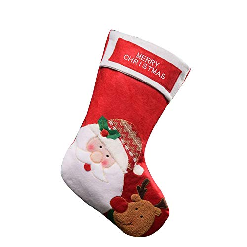 Javntouy - Calcetines de Navidad para decoración de árbol de Navidad, color negro y rojo
