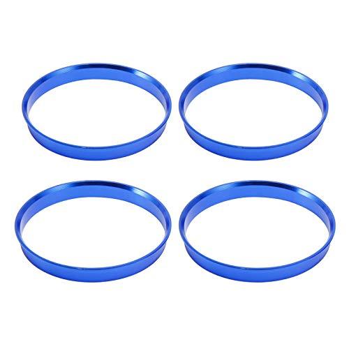 SurePromise 4 Alloy Hub Centric Rings Car Wheel Bore Center Spacers Spigot Centering Ring Aluminium Rim (Blue, 72.6-74.1mm)