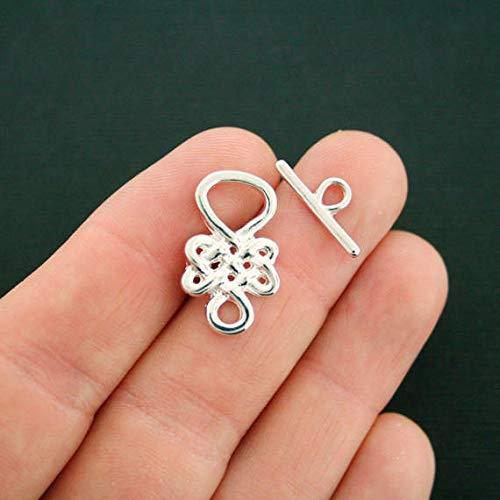 2 Celtic Knot Toggle Clasp Sets Silver Tone 2 Piece Set ODSF-5824