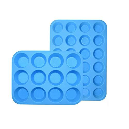 GAKIN Molde de silicona para magdalenas, mini magdalenas, sin BPA, color azul, 2 unidades