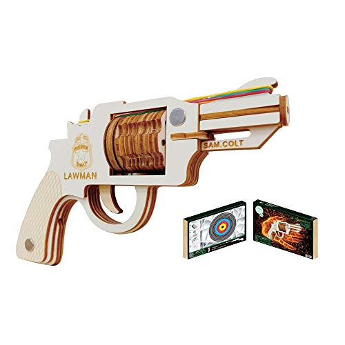 HFXZ2018 Gun Modellbausätze, DIY Holz-Gewehr mit Gummibänder, Holz BAU 3D-Puzzle Spielzeug geeignet für Eltern-Kind-Interaktion