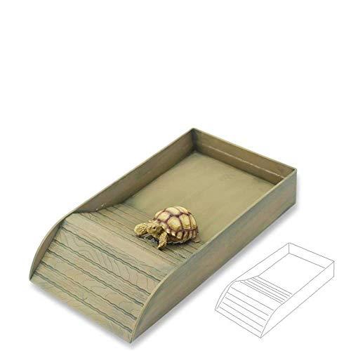 JBLDY Plástico Grande Tortuga Reptil Caja Agua Tortuga Escalera Barril Cuenca Cornudo Rana Lagarto Serpiente Cuenca,Grano de Madera,Un tamaño