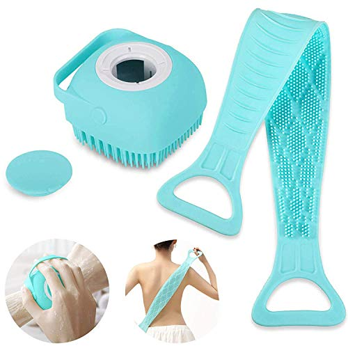 2 Pcs Silicone Bath Body Back Brush+Silicone Shower Brush with Soap Dispenser,Ultra Soft Exfoliating Silicone Body Scrubber, Easy to Clean, Lathers Well, Eco Friendly, Long Lasting