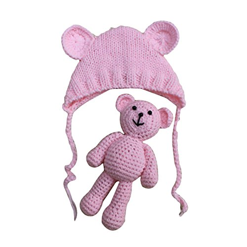 YeahiBaby Accesorios de fotografía de bebé Recién nacido Sombrero de oso de punto lindo con gorra de juguete de ganchillo Niños de osos Gorro de fotografía de niña (Rosa claro)