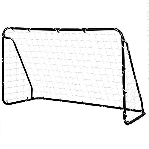 HOMCOM But de Football - Cage de Foot - But d'entrainement dim. 203L x 81l x 120H cm - châssis métal époxy Filet PE - piquets Inclus - Noir