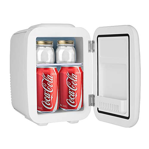Aoerte Mini Fridge 5 Liter/6 Can AC/DC Portable Thermoelectric Cooler and Warmer for Skincare, Breast Milk, Foods, Medications, Bedroom and Travel, White