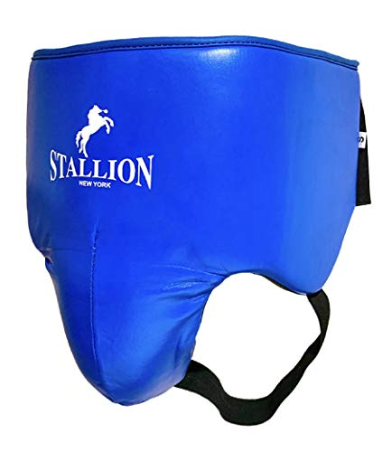 STALLION NEW YORK All Pro Boxing Groin Protector - Genuine Leather - State-of The-Art Quality - Abdominal Groin Guard Protector - Blue/Small