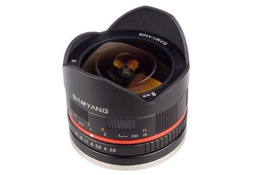 Samyang 8 mm F2.8 UMC Fisheye II (Schwarz) Objektiv für Canon EF-M Mount Compact Systemkameras