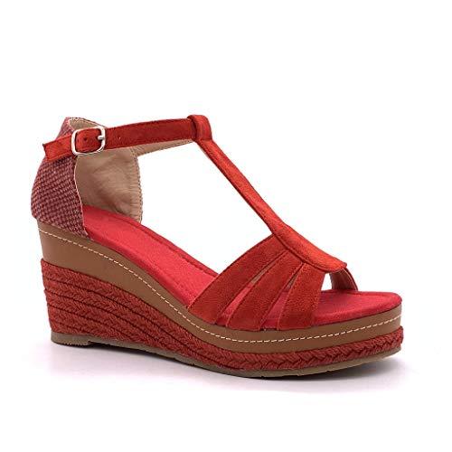 Angkorly - Mode schoenen Klompen Espadrilla T-bar Enkelband Vrouw Riemen Met stro Gevlochten Type de talon NL sleehak 8 CM - Rood FL32 T 39