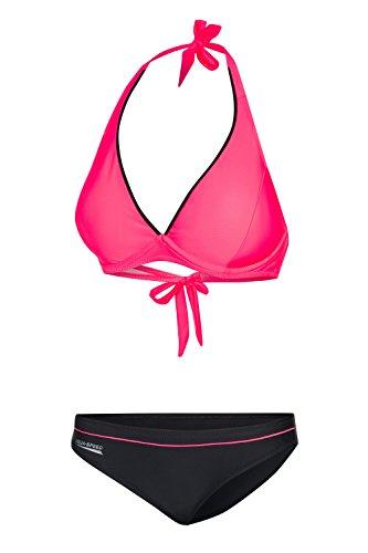 Aqua Speed Set Bügelbikini Damen I Zweiteiler Badeanzug I Zweiteilige Badebekleidung I Two Piece Swimsuit Women I Swimwear I Sommer I Pink-Grau, Gr. 40C I Palm Beach + UP Schlüsselband