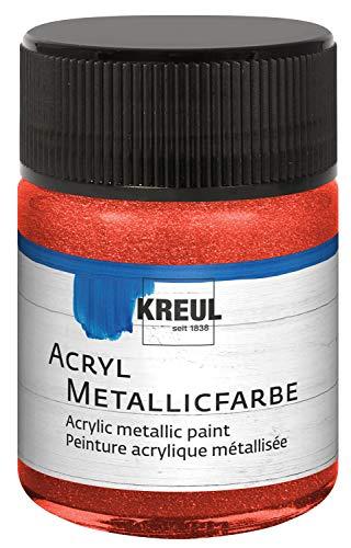 Kreul 77573 - Acryl Metallicfarbe, glamouröse Acrylfarbe mit Metalliceffekt auf Wasserbasis, cremig deckend, schnelltrocknend und wasserfest, 50 ml Glas, metallic rot