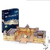YANGLIUYL DIY Puzzle 3D De Louvre Francia Kit De Construcción De Museo De Paris Juguetes LED Modelos Decoración De Mobiliario Exquisita, Adecuado para La Colección (137Pcs)