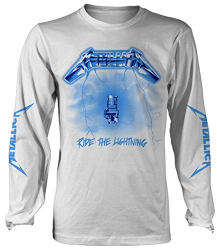 Metallica 'Ride The Lightning' (White) Long Sleeve Shirt (x-Large)