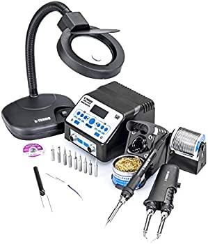 USA EXCLUSIVE  X-TRONIC 8020-XTS - 2 IN 1  Antistatic Digital Soldering Iron Station and Hot Tweezers - ESD Safe - C/F - Brass Tip Cleaner & Flux - IC Popper - 5X Magnifying Lamp