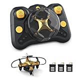 Holyton HT02 Golden Mini Drone for Adult Beginners and Kids, Portable RC Quadcopter with Auto Hovering, 3D Flip, 3 Speed Modes, Headless Mode and 3 Batteries, Emergency Stop, Gift for Boys Girls
