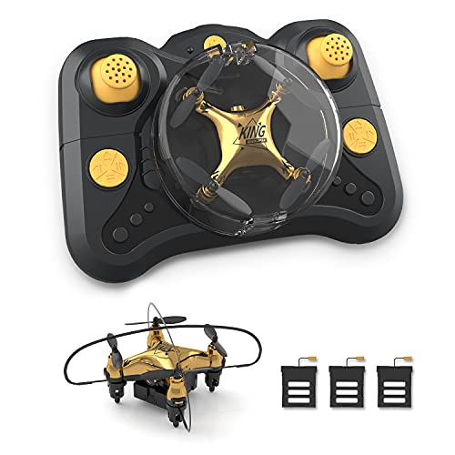 Holyton HT02 Golden Mini Drone for Adult Beginners and Kids, Portable RC Quadcopter with Auto Hovering, 3D Flip, 3 Speed Modes, Headless Mode and 3...