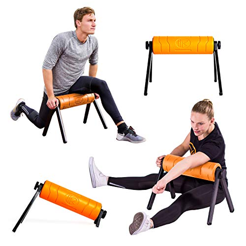 HighRoller, World's Most Efficient, Patented, Ergonomic Foam Roller, Rolling Muscle and Fascia Care Physical Therapy Aid Pilates Stretching (Orange)