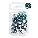 MALAT Mezcla de tamaños para decoración de uñas, Diamantes de imitación sin Cristal, Parte Trasera Plana, Cristales 3D, Diamantes de imitación no fijos, decoración de uñas, circonita Azul