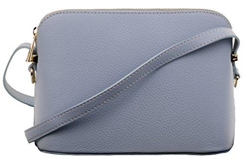 Primo Sacchi® Italienisch Texturiertes Leder Kleine hellblaue dreieckige verstellbare Riemen Schulter oder Crossbody Tasche. Beinhaltet einen Markenschutz-Aufbewahrungsbeutel