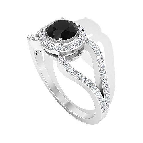 Anillo de compromiso vintage de 0,82 ct solitario de diamantes negros, certificado IGI, anillo de aniversario de boda con halo de diamante, art déco, 14K Oro amarillo, Size:EU 47