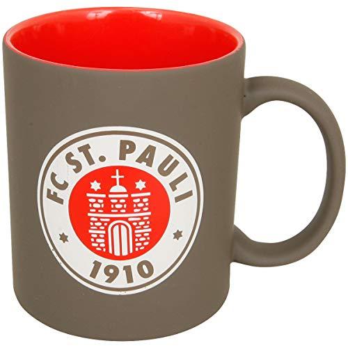 FC St. Pauli Kaffeebecher Tasse Becher Kaffee Aufdruck Logo braun-rot