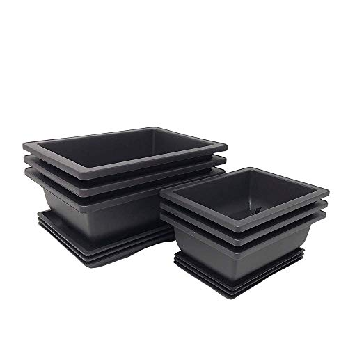 Bonsai Training Pots Humidity Trays - Built in Mesh, 6' and 8' Large Planter Combo Pack + Made from Durable Shatter Proof Poly-Resin (Set of 6 Pot Set)
