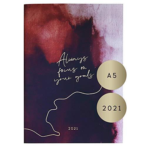 """JO & JUDY Monatskalender""""Always focus on your goals"""" - Kalender 2021 in Rot mit Goldfolienprägung, 21 cm x 14,8 cm"""