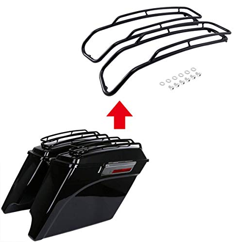 XMT-MOTO Saddlebags Lid Top Rail Guard fits for Harley Davidson all Touring road glide, road king, ultra, street glide, electra glide Models 2014-later, Black