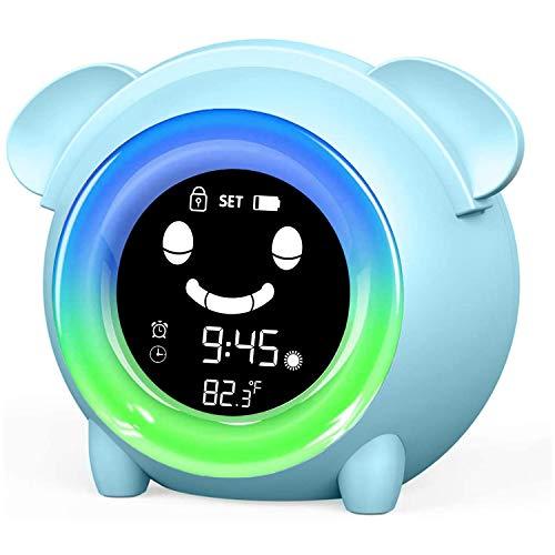 Wecker für Kinder - Kinderwecker Wake Up Lichtwecker, Kinder schlafen Trainer mit 7 Farben Ändern Lehren Kids Zeit zum Aufwachen, Aufladen USB