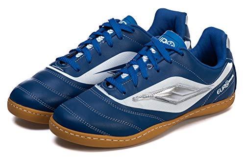 Chuteira Adulto Couro Futsal Leve Macia- AS309 Cor:Azul Royal-Branco;Tamanho:34