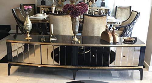 Casa Padrino Luxus Barock TV Schrank Schwarz/Gold 230 x 55 x H. 65 cm - Verspiegelter Massivholz Fernsehschrank - Barock Wohnzimmer Möbel