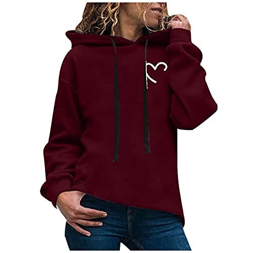 Sudadera con Capucha para Mujer Sudadera Mujer Deporte con Estampados PatróN De ImpresióN De Amor Hoodie Sweatshirts De Manga Larga Pullover Deportivo
