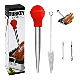 XiaoYang Turkey Baster, Baster Syringe for Cooking, Stainless Steel Meat Baster with Needles and Cleaning Brush Easy to Use and Clean Set of 4 (Red)