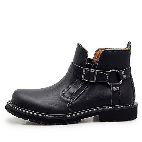 Gowell Botines Invierno con Cuero Genuino de Vaca para Hombre Calzado Botas de Moto de Moda Botines cómodos Zapatos Casuales,Negro,43
