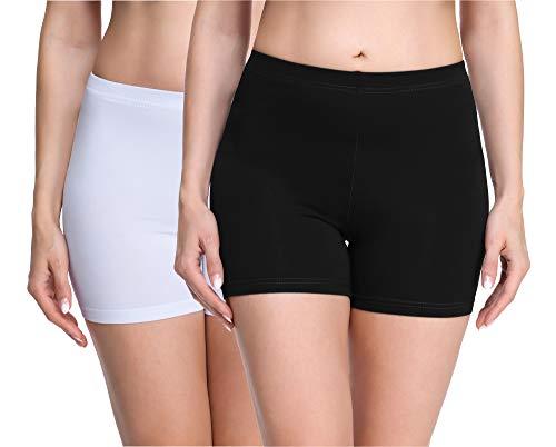 Merry Style Damen Shorts Radlerhose Unterhose Hotpants Kurze Hose Boxershorts aus Viskose 2Pack MS10-283(2Pack Schwarz/Weinrot,M)